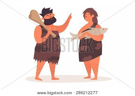 Primitive Man In The Pelt With A Club Talking To A Primitive Woman Who Holds A Fish. The Life Of Nea