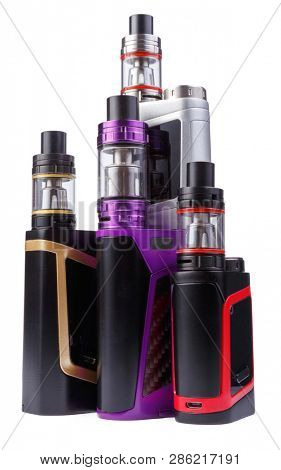 Vaping device e-cigarette electronic cigarette, vape isolated on the white background. Electronic nicotine vaporizer. Modern atomizer tank mod electric cartomizer