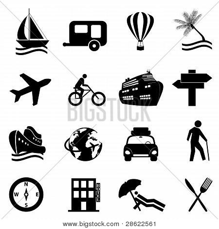 Leisure, Travel And Recreation Icon Set