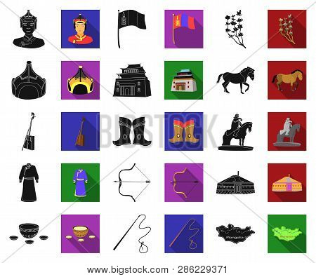 Country Mongolia Black, Flat Icons In Set Collection For Design.territory And Landmark Vector Symbol