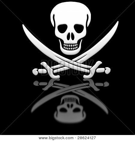 Jolly Roger skull and swords