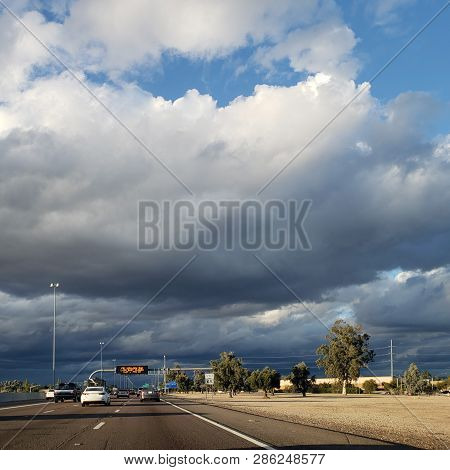 Dense Storm Clouds Moving In North Phoenix Metro Area Right Above Interstate 17 Highway