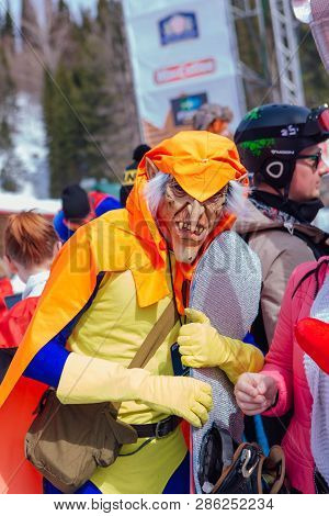 Sheregesh, Kemerovo Region, Russia - April 7, 2018: Man In Carnival Costume Of Green Goblin The Enem