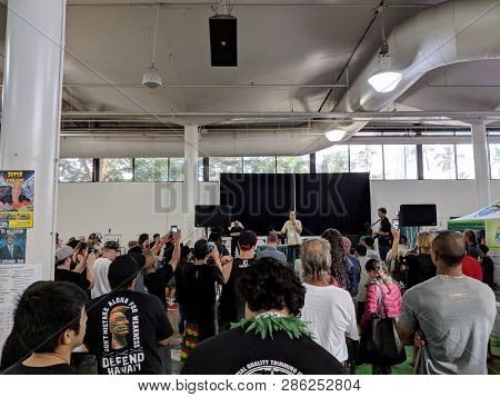 Honolulu - February 10, 2018: Ed Rosenthal Talks On Stage At The 3rd Annual Hawaii Cannabis Expo At