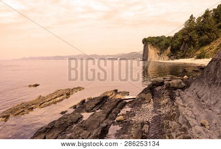 Sunset On The Beach Near Kiselev Cliff Also Known As Cliff Of Tears, Tuapse, The Black Sea, Russia.