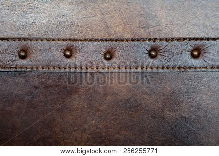 Leather With Rivet Texture Background Close Up