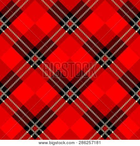 Menzies Tartan Black Red Kilt Skirt Fabric Texture Seamless Pattern.vector Illustration. Eps 10. No