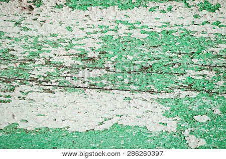 Peeling texture paint on old weathered texture wood - texture background, texture surface of the old wooden planks
