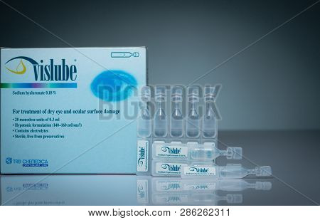Chonburi, Thailand-october 17, 2018 : Vislube. Sodium Hyaluronate 0.18% For Treatment Dry Eye And Oc