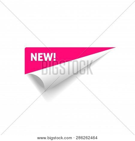 Folded Corner Vector, Rolled Paper Sticker With New Text Sign Isolated On White Background Clipart
