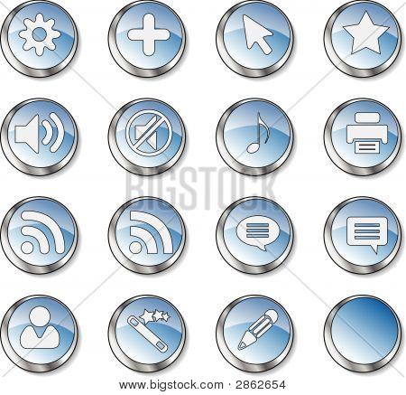 Web Icon Set  (16 Black Buttons)