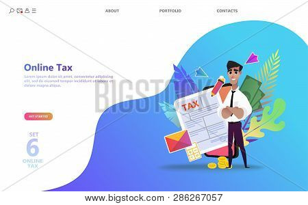 Online Tax Payment. People Filling Tax Form. Flat Isometric Concept Of Online Bill Payment, Shopping