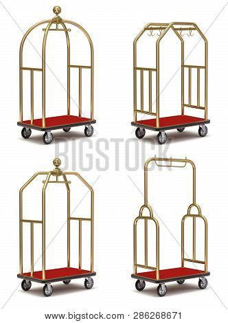 Vintage Hotel Cart Set On White Background - 3d Illustration