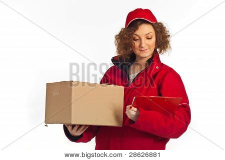 Delivery Woman Reading Clipboard