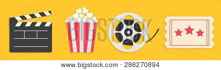 Cinema Icon Set Line. Popcorn Box Package Big Movie Reel. Open Clapper Board. Ticket Admit One. Thre