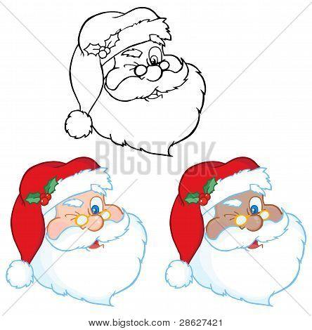 Santa Claus Winking Classic Cartoon