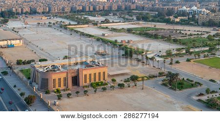 Cairo, Egypt - July 27 2018: Exhibition Land At Nasr City, With The General Authority For Investment