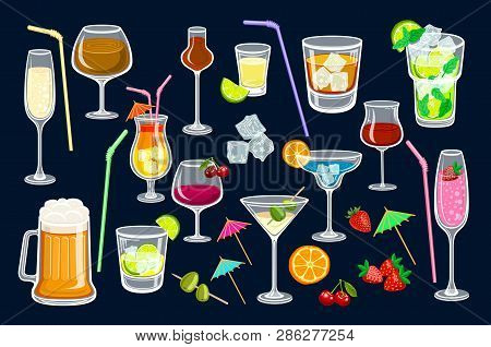 Cocktails On Black Background. Vector Illustration For Web And Print, Party Invitation Or Menu Decor