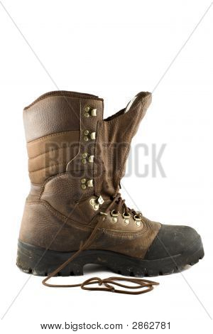 Brown Hunting Boot Isolated On White Background