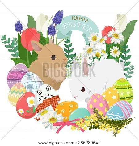Happy Easter Icons Set With Decorated Eggs, Rabbit, Flower And Plant