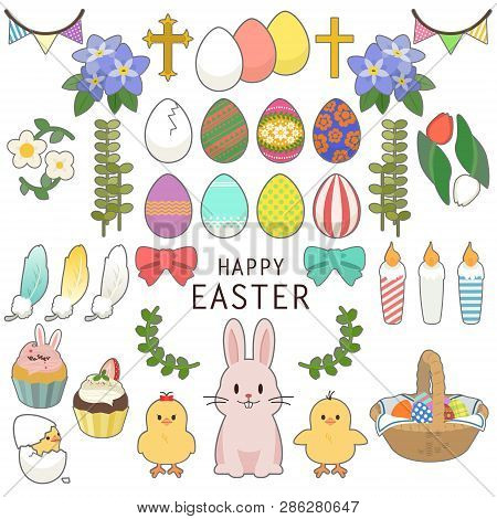Happy Easter Icons Set With Decorated Eggs, Rabbit, Chick, Ornament, Pancake, Feather, Flower And Pl