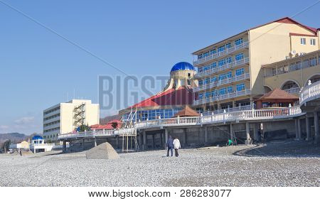 Sochi, Russia - March 24, 2017: Deserted Beach In Early Spring. The Black Sea Coast In The District