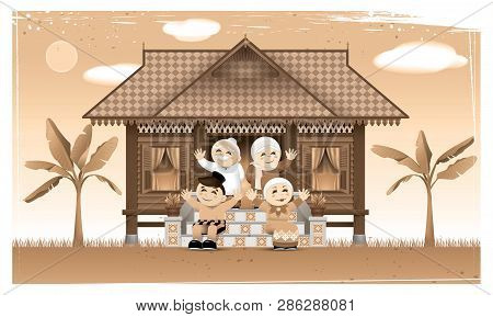 A Happy Muslim Family And Their Home Town In Rural Area. Artwork Presented With Nostalgia Effect. Ve