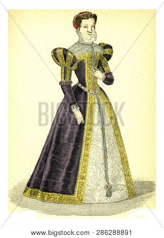 Marie Stuart, vintage engraved illustration. 12th to 18th century Fashion By Image.