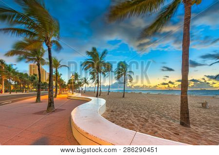 Fort Lauderdale, Florida, USA beach and life guard tower at sunrise.