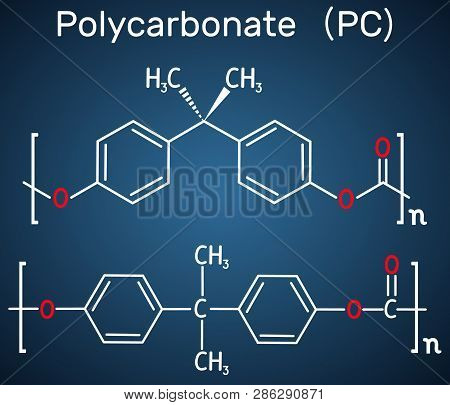 Polycarbonate (pc) Thermoplastic Polymer Molecule. Structural Chemical Formula On The Dark Blue Back