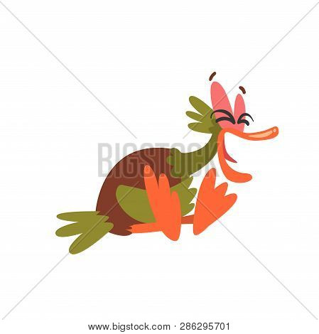 Funny Male Mallard Duck Sitting And Laughing, Comical Bird Cartoon Character Vector Illustration