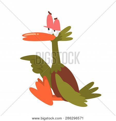 Self Confident Male Mallard Duck Pointing Its Wing, Funny Bird Cartoon Character Vector Illustration