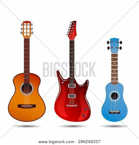 Set Of Different Bright Realistic Guitars. Retro Acoustic Guitar, Electric Rock Guitar And A Little