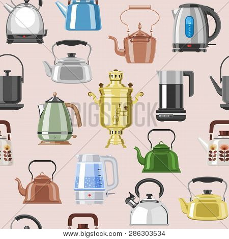 Teapot And Kettle Vector Teakettle Or Samovar To Drink Tea On Teatime And Boiled Coffee Beverage In