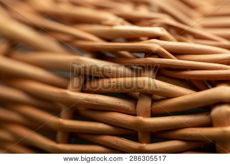 Wicker Basket. Wooden Basket. Rattan Basket. Detail Of A Rattan Basket. Wicker Surface.