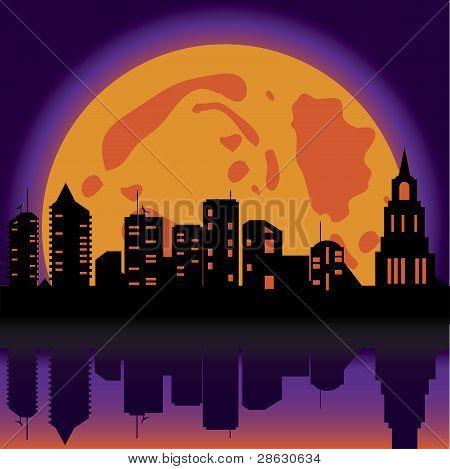 Halloween Background Night City
