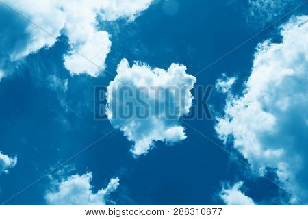 Sky With Beautiful Cloud And Sunshine. Peaceful Cloudy Sky Natural Background. Divine Shining Heaven