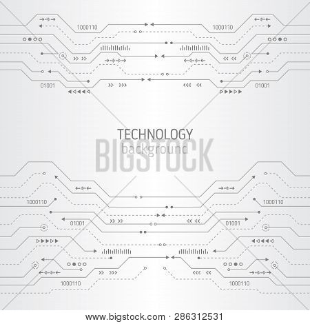 Circuit Board Texture On The White Background. Abstract Digital Modern Concept Style. High Tech Vect