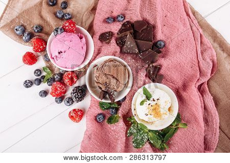 Chocolate Pink Fruit Vanilla Icecream Set Flat Lay. Three Different Ice Cream Dessert In Cup Top Dow