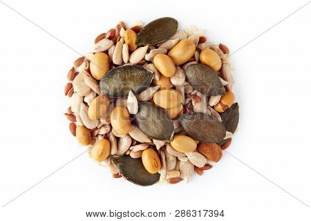 Mix Of Various Healthy Seeds Including Soy Beans, Sesame, Pumpkin And Sunflower Seeds Isolated On Wh