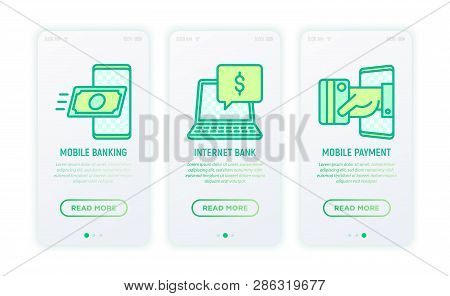 Online Banking  Thin Line Icons: Mobile Banking, Internet Bank, Contactless Payment. Modern Vector I