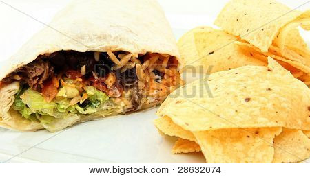 Burrito And Chips On Plate