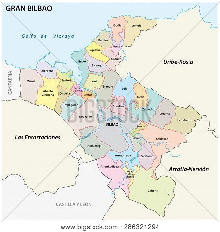 Bilbao Metropolitan Area Administrative And Political Vector Map