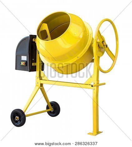 Yellow cement mixer isolated on white with clipping path included