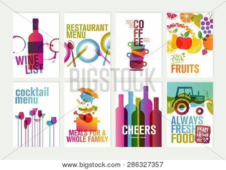 Set Of Restaurant Menu, Brochure, Flyer Design Templates. Vector Illustrations For Food And Drink Ma