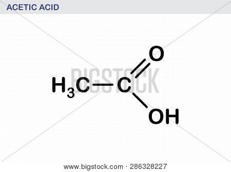 Illustration Of The Structural Formula Of Acetic Acid Molecule