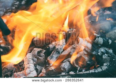Burning Firewood In The Bonfire. Flames Burning In The Grill With Smoke. Arson Or Natural Disaster.