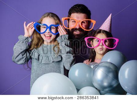 Happy Fathers Day. Happy Family Celebrating Birthday Party. Having A Family Celebration. Family Part