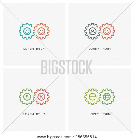 Gear Wheel Logo Set. Pinion Or Toothing, Happy And Sad Faces, Percent Sign, Dollar And Globe Symbol