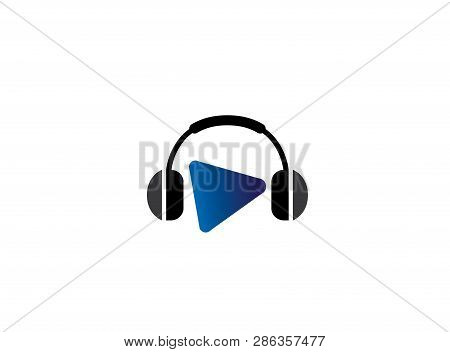 Headphones With Music Beats, Headset With Play Symbol For Logo Design